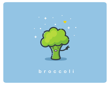 Vector flat icon of broccoli, cute vegetable cartoon character, baby meal menu Ilustração
