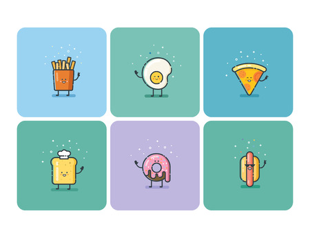 Vector set of flat fast food icons, cute cartoon characters, baby meal menu Ilustração