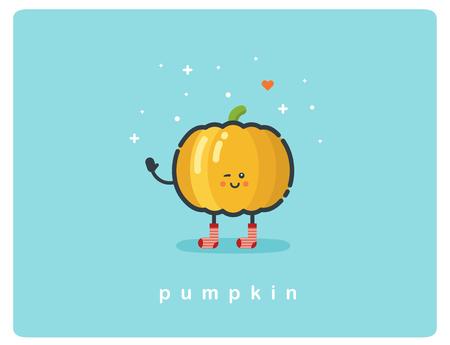pumpkin seeds: Vector flat icon of pumpkin cute cartoon character, baby meal menu Illustration