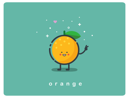 Vector flat icon of orange, fruit funny cartoon character