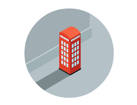 cabina telefonica: Ilustración vectorial isométrica de la cabina de teléfono rojo, llamada-caja, icono de teléfono