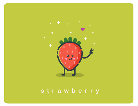 Vector flat icon of strawberry, fruit funny cartoon character