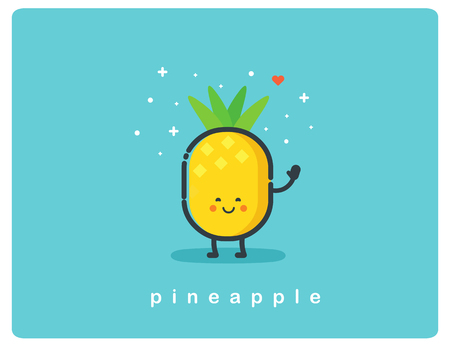 Vector flat icon of pineapple, fruit funny cartoon character Ilustração