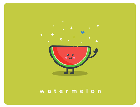 Vector flat icon of watermelon, fruit funny cartoon character Ilustração
