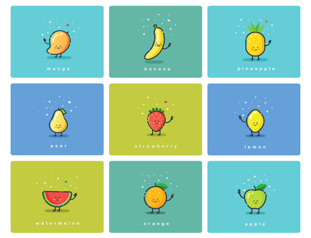 Vector set of flat fruit icons, cute cartoon food characters, baby meal illustration