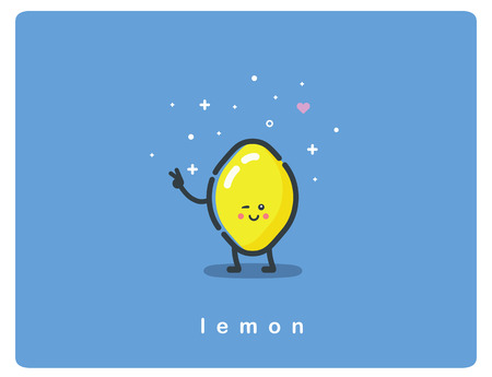 Vector flat icon of lemon, fruit funny cartoon character