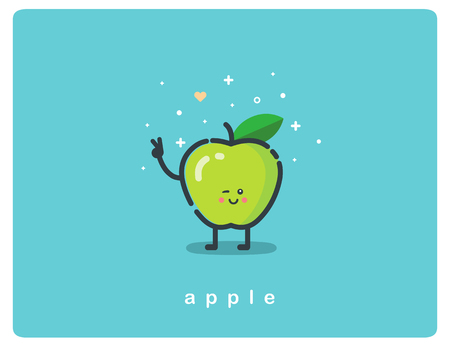 Vector flat icon of green apple, fruit funny cartoon character Ilustração