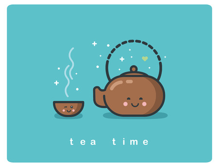 Vector flat icon of tea time, Tea pot and cups cute cartoon characters, tea ceremony