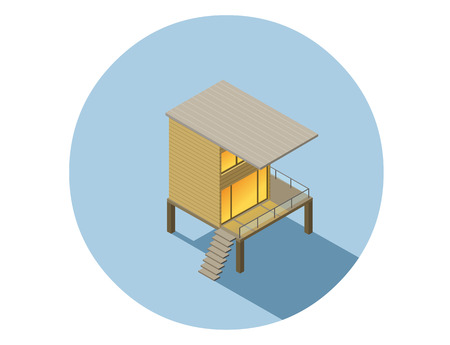 Vector isometric modern architecture building, infographic elements representing low poly town apartment building Illustration
