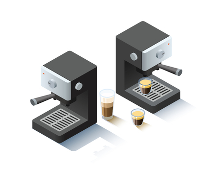black appliances: Vector isometric coffee machine object, coffee maker icon.