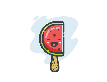 Vector funny watermelon ice cream icon, cute cartoon food character.