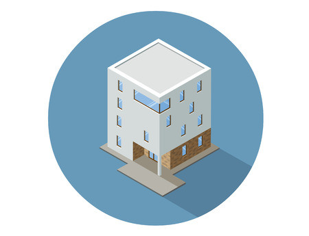 Vector isometric modern architecture building, element representing low poly town apartment or office building.