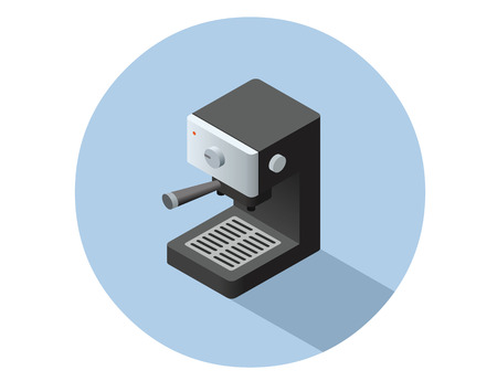 bean family: Vector isometric coffee machine object, coffee maker icon.