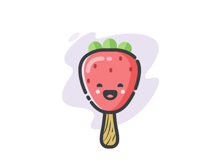 Vector funny strawberry ice cream icon, cute cartoon food character.