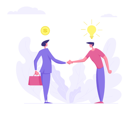Two Businessman Handshaking. Business Agreement, Partnership Cooperation Concept. Business Characters Shaking Hands Idea Selling for Money. Flat Vector Cartoon Illustration