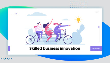 Business Leadership and Teamwork Concept with Businessman Character Pointing Forward Direction to Idea Lightbulb Landing Page. Team on Bike Following CEO to Success Target for Website, Web Page, Banner. Flat Cartoon Vector Illustration