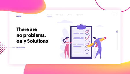 Project Management Business Concept with People Characters Fill in Check Boxes with Giant Pencil. Checklist Banner with Man and Woman for Website, Web Page. Flat Vector Illustration Vectores