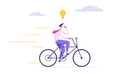 Creative Solutions Business Concept with Businessman Character on a bike Getting Idea as a Lightbulb. Symbol of Out of the Box Thinking, Brainstorming, New Idea, Innovation, Success. Vector illustration