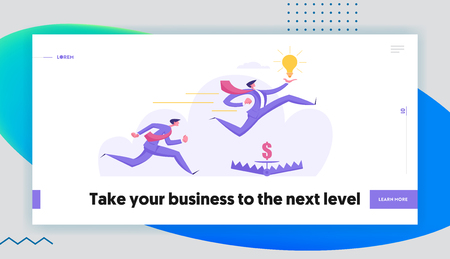 Creative Idea Risk Management Business Concept with People Characters Racing Holding Idea and Jumping Over Trap. Career Aspirations Banner with Ambitious Men for Website, Web Page. Flat Vector Illustration