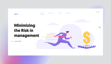 Business Risk Management Concept with Greedy Businessman Character Chasing for Money Directly to Bear Trap. Banner with Desperate Man for Website, Web Page. Flat Vector Illustration Ilustração