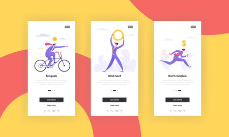 Business Motivation Concept Mobile App Page Screen Set. Business People Characters, Cycling and Running Men with Man Holding Gear Over Head for Website or Web Page. Flat Cartoon Vector Illustration 向量圖像