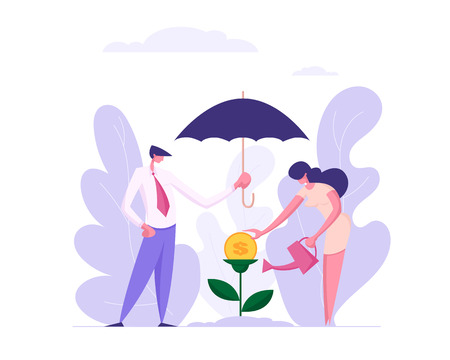 Benefit Business Success Concept with People Characters Protecting and Watering Money Tree, Showing Profit. Banner with Investing Man and Woman  for Website, Web Page. Flat Vector Illustration