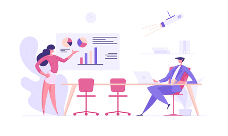 Business Presentation Success Concept with Businesswoman Character Explaining Charts to Lead Man. Seminar Training Banner with Man and Woman for Website, Web Page. Flat Vector Illustration