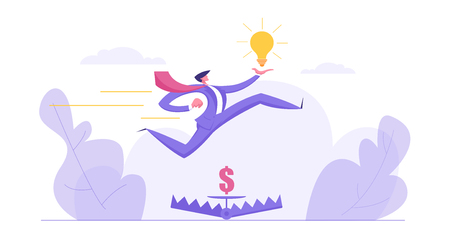 Career Growth, Ambition Business Concept with Businessman Character Jumping over Money in Bear Trap Holding Idea Lightbulb. Banner with Creative Man for Website, Web Page. Flat Vector Illustration Vektorové ilustrace