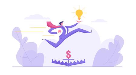 Croissance de carrière, concept d'entreprise d'ambition avec un personnage d'homme d'affaires sautant par-dessus de l'argent dans un piège à ours tenant une ampoule idée. Bannière avec Creative Man pour site Web, page Web. Illustration vectorielle plane Vecteurs