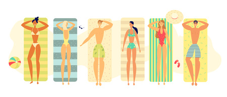 Summer Happy Relax Lifestyle Concept with People Characters Sunbathing on the Beach Carpets. Top View of Lying Men and Women for Vacation. Flat Vector Illustration