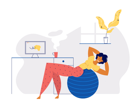 Home Exercises Positive Healthy Lifestyle Concept with Smiling Girl Character Doing Aerobic with Fitness Ball at Home. Interior Banner for Female Relax for Website, Web Page. Flat Vector Illustration