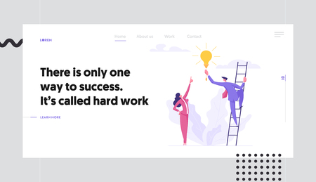 Business Innovation Teamwork Success Concept with People Characters on Stairs as Career Development. Landing Page with Man and Woman Working Creative for Website, Web Page. Flat Vector Illustration Illusztráció