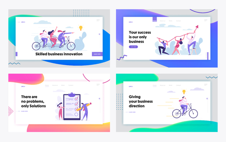 Creative Cooperation Developing Innovation Business Success Concept Landing Page Set. People Characters with Checklist, Tandem Bike, Arrow and Idea Bulb for Website, Web Page. Flat Vector Illustration