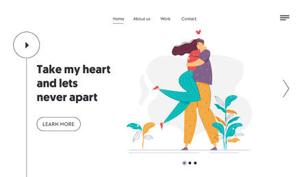 Happy Couple in Love Landing Page Template. Romatic Dating Concept with Man and Woman Characters Hugs Romance Relationships for Website, Banner, Web Page. Vector illustration Ilustração