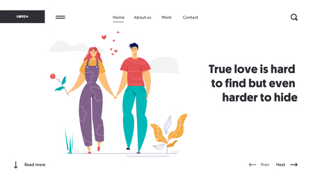 Happy Couple in Love Landing Page Template. Romatic Dating Concept with Man and Woman Characters Romance Relationships for Website, Banner, Web Page. Vector illustration