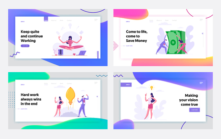 Successful Creative Teamwork Business Concept for Landing Page Set. People Characters with Money Stack, Idea and Multitasking Woman, Showing Innovation Website, Web Page Template. Flat Vector Illustration