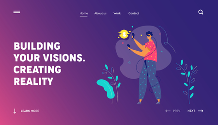 Virtual Reality Augmented Concept for Landing Page. Male Character with VR Glasses Playing Game. New Technology Video Gaming Experience for Website, Web Page. Flat Vector Illustration