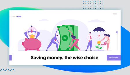Money Saving Concept Landing Page with Business People Characters, Piggy Bank and Money Tree. Financial Savings Profit, Investment with Businessman and Moneybox Banner, Website, Web Page. Vector Flat illustration