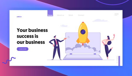 Successful Start Up Concept Landing Page with Business People Characters Launches Rocket from Laptop. Space Ship Metaphor Startup, Teamwork E-commerce Banner, Website, Web Page. Vector Flat illustration