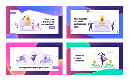 Successful Start Up Concept Landing Page Set with Business People Characters Launches Rocket from Laptop. Space Ship Metaphor Startup, Business Challenge Banner, Website, Web Page. Vector Flat illustration Ilustração