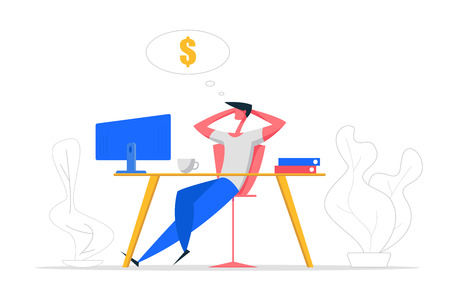 Finance Business Big Dreams Concept. Relax Businessman Character Sitting with Computer Dreaming About Money and Passive Income. Manager Office Workspace Background. Vector Cartoon illustration