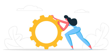 Business Strategy, Technology Innovation Concept. Businesswoman Character Pushing Giant Cogwheel. Gear as a Metaphor of Growth and Progress. Piece of Company mechanism. Cartoon Vector illustration Stock Illustratie