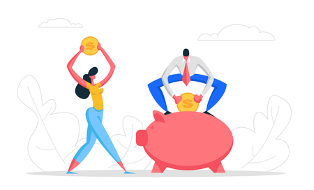 Money Saving Concept with Business People Characters and Piggy Bank. Financial Savings Profit, Salary Investment, Deposit with Businessman Collect Coins in Moneybox. Vector Flat illustration Vektorové ilustrace