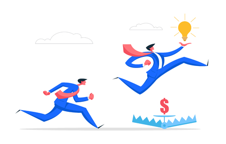 Business Risk Management Creative Idea Concept with Businessman Running Jumping Over Trap. Business Competition Character Challenge with Light Bulb. Flat Vector Cartoon Illustration