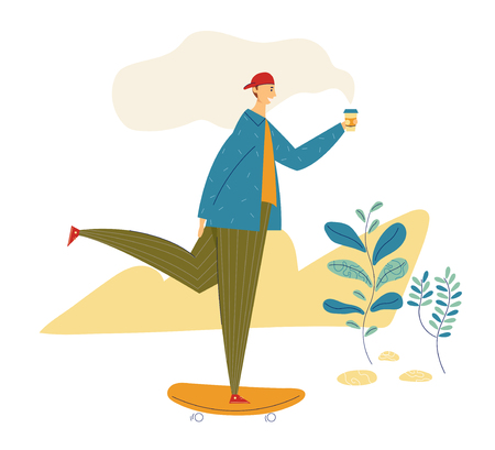 Young Hipster Man Riding Skateboard with Coffee Cup. Happy Male Character Guy Skateboarding Outdoor in the Park with Cup of Tea. Vector flat cartoon illustration