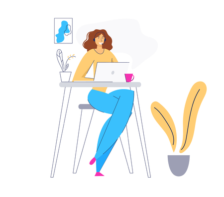 Online Technical Support 24/7 Concept with Woman Character Consulting Client via Headset. Online Assistance, Female Help Line Call Center Operator. Vector flat illustration