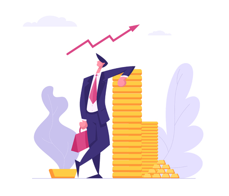 Successful Business Character with Money Cash. Financial Profit Salary Wealth Concept. Rich Businessman Making Savings Increasing Capital. Vector flat cartoon illustration 向量圖像