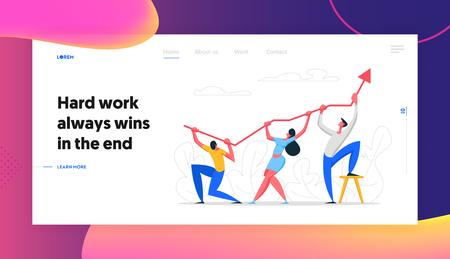 Business Character Teamwork Banner Concept. Business Team Holding Up Arrow Symbol. Financial Success, Career Growth, Cooperation, People Partnership Website, Landing Page. Vector flat cartoon illustration