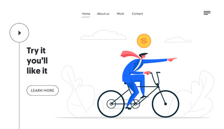 Creative Solutions Business Banner Concept. Businessman Character Driving Bike. Symbol of Running a Company, Managing, Leadership, Innovation, Finance Website, Landing Page. Vector flat cartoon illustration