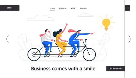 Creative Idea Teamwork Banner Concept. Business Team Riding Tandem Bicycle. Businessmen Characters on Bike. Cooperation Leadership Metaphor Website Landing Page. Vector flat cartoon illustration